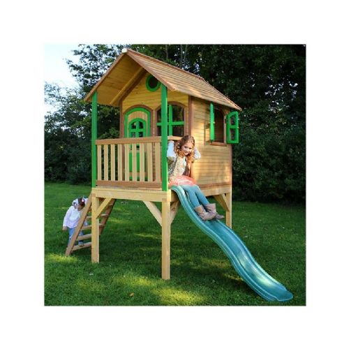 Westleton Playhouse - Kids Wooden Woodland Wendy House With Porch and Wavy Slide